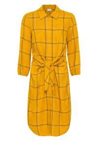 Sukienka szmizjerka z przewiązaniem bonprix miodowy w kratę. Kolor: pomarańczowy. Typ sukienki: szmizjerki