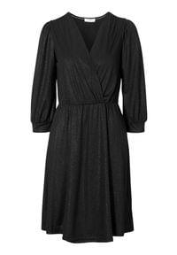 Cream Kopertowa sukienka z połyskiem Hika Czarny female czarny XL (44). Typ kołnierza: dekolt w serek. Kolor: czarny. Materiał: jersey. Typ sukienki: kopertowe. Styl: elegancki
