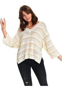 Beżowy sweter TOP SECRET casualowy, na jesień, na co dzień
