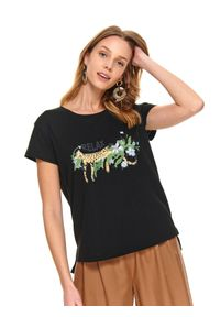 Czarny t-shirt TOP SECRET na co dzień, z klasycznym kołnierzykiem, z nadrukiem