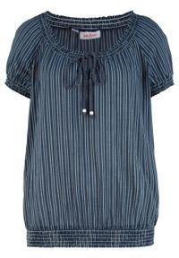 Niebieska tunika bonprix z krótkim rękawem, krótka, w paski
