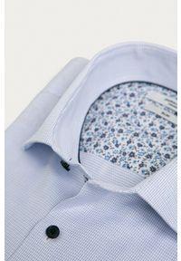 Premium by Jack&Jones - Koszula bawełniana. Okazja: na co dzień. Typ kołnierza: kołnierzyk włoski. Kolor: niebieski. Materiał: bawełna. Styl: casual
