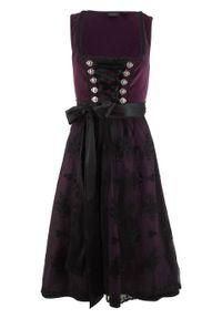 Sukienka ludowa z materiału w optyce aksamitu bonprix czarny bez. Kolor: fioletowy. Materiał: materiał. Styl: elegancki