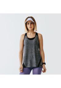 KALENJI - Koszulka do biegania bez rękawów damska Kalenji Run Light. Kolor: szary. Materiał: elastan, poliester, materiał. Długość rękawa: bez rękawów. Sport: bieganie