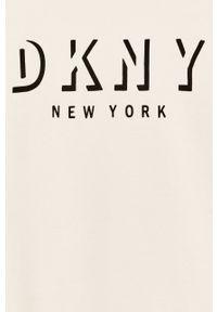 Biała bluzka DKNY z okrągłym kołnierzem, na co dzień