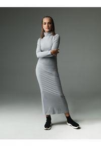 Madnezz - Sukienka Willow - szara. Typ kołnierza: golf. Kolor: szary. Materiał: bawełna, wiskoza, dzianina, elastan, tkanina. Wzór: aplikacja. Typ sukienki: dopasowane. Styl: klasyczny
