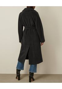 Marella - MARELLA - Wełniany ciemnoszary płaszcz Bavero. Kolor: szary. Materiał: wełna. Długość: długie. Styl: klasyczny
