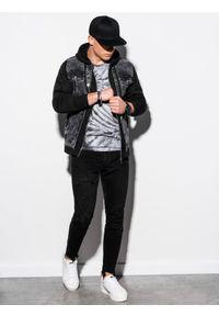Ombre Clothing - Kurtka męska jeansowa C322 - czarna - XXL. Typ kołnierza: kaptur. Kolor: czarny. Materiał: jeans. Styl: klasyczny