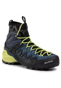 Niebieskie buty trekkingowe Salewa z cholewką, trekkingowe
