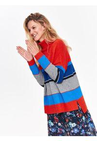 Pomarańczowy sweter TOP SECRET w paski, na co dzień