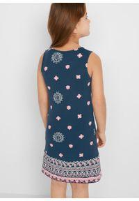 Letnia sukienka dziewczęca bonprix ciemnoniebieski z nadrukiem. Kolor: niebieski. Wzór: nadruk. Sezon: lato