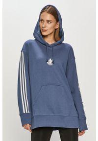 adidas Originals - Bluza bawełniana. Typ kołnierza: kaptur. Kolor: fioletowy. Materiał: bawełna. Długość rękawa: długi rękaw. Długość: długie. Wzór: nadruk