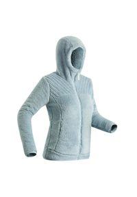 quechua - Polar turystyczny damski ciepły Quechua SH100 Ultra-Warm. Kolor: szary. Materiał: materiał, poliester. Długość: długie. Wzór: motyw zwierzęcy