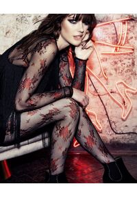 Wolford - WOLFORD - Rajstopy Lea Black/Red. Kolor: czarny. Materiał: tiul, koronka. Wzór: kwiaty, koronka
