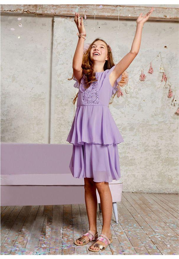 Fioletowa sukienka bonprix w kolorowe wzory