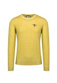 Żółty sweter Aeronautica Militare z haftami, klasyczny
