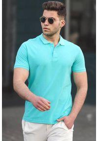 Turkusowy t-shirt IVET casualowy, na co dzień, polo