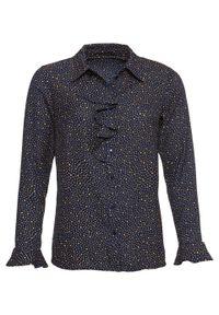 Bluzka z nadrukiem i falbanami, długi rękaw bonprix ciemnoniebiesko-koniakowy w kropki. Kolor: niebieski. Długość rękawa: długi rękaw. Długość: długie. Wzór: nadruk, kropki