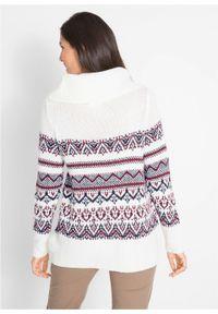 Sweter w norweski wzór, z szerokim golfem, fason o linii litery A bonprix biel wełny w norweski wzór. Typ kołnierza: golf. Kolor: biały. Materiał: akryl, materiał, wełna