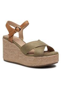 Zielone sandały Clara Barson z aplikacjami, casualowe
