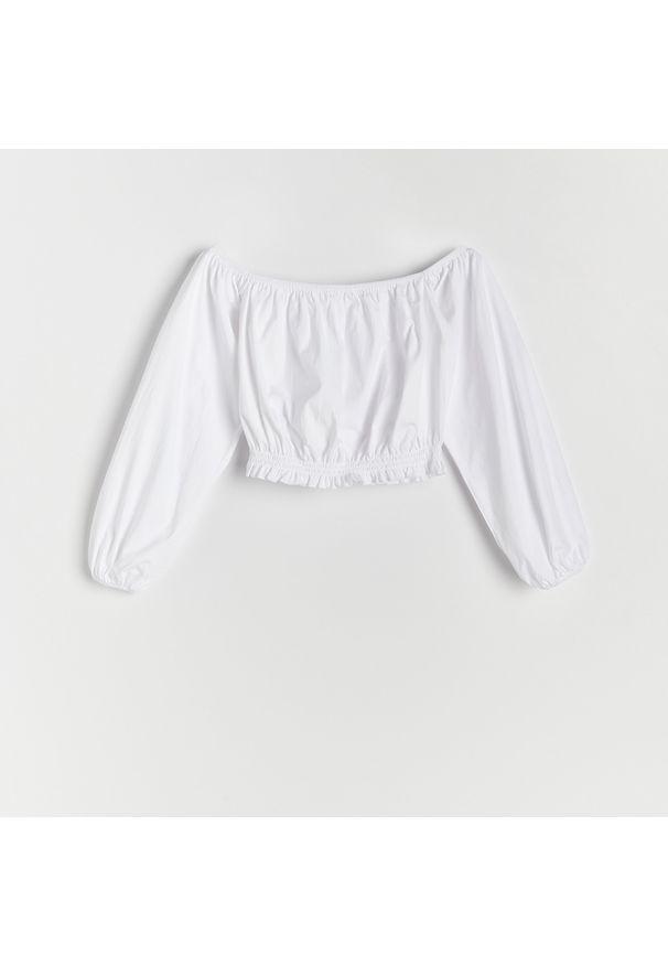 Reserved - Bluzka z odkrytymi ramionami - Biały. Kolor: biały