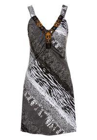 Czarna sukienka bonprix na lato, elegancka, z aplikacjami