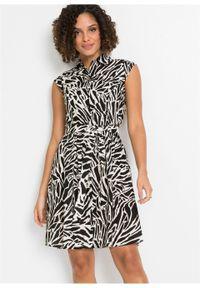 Sukienka koszulowa z lnu z nadrukiem bonprix czarny w paski zebry. Kolor: czarny. Materiał: len. Wzór: motyw zwierzęcy, nadruk, paski. Typ sukienki: koszulowe