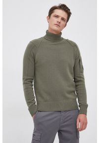 C.P. Company - Sweter wełniany. Okazja: na co dzień. Typ kołnierza: golf. Kolor: zielony. Materiał: wełna. Długość rękawa: długi rękaw. Długość: długie. Styl: casual