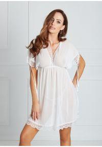 Saintmiss - Koszula nocna z zasłoniętymi ramionami // Valentine - Uniwersalny, Biały. Kolor: biały. Materiał: koronka, materiał. Długość: krótkie. Wzór: koronka, aplikacja