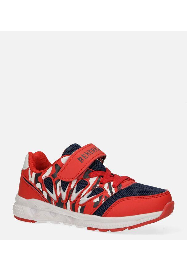 Czerwone buty sportowe Casu na rzepy