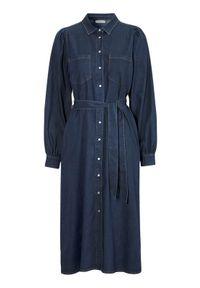 Niebieska sukienka Freequent maxi, na jesień, na co dzień