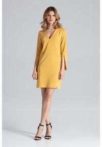 Figl - Żółta Sukienka Koktajlowa Mini z Rozciętym Rękawem. Kolor: żółty. Materiał: wiskoza, poliester. Styl: wizytowy. Długość: mini