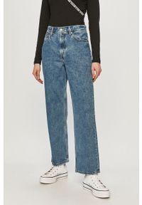 Niebieskie proste jeansy Levi's® biznesowe, z podwyższonym stanem