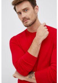United Colors of Benetton - Sweter wełniany. Okazja: na co dzień. Kolor: czerwony. Materiał: wełna. Styl: casual