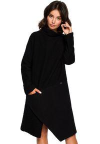 BE - Lekko oversizowa sukienka z asymetrycznym dołem. Materiał: bawełna, dzianina, materiał. Długość rękawa: długi rękaw. Wzór: gładki. Typ sukienki: asymetryczne