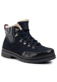 Niebieskie buty zimowe Go Soft eleganckie, z cholewką
