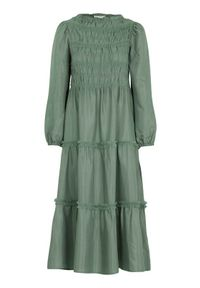 Zielona sukienka Cream z falbankami, maxi, z długim rękawem