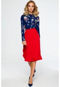 e-margeritka - Elegancka spódnica ołówkowa z falbaną czerwona - xl. Stan: podwyższony. Kolor: czerwony. Materiał: poliester, materiał, elastan. Wzór: gładki, aplikacja. Sezon: jesień, zima. Styl: elegancki