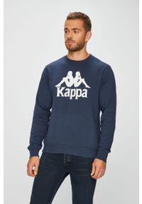 Niebieska bluza nierozpinana Kappa z okrągłym kołnierzem, z nadrukiem