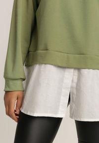 Renee - Zielona Bluza Ilelaira. Kolor: zielony. Materiał: jeans. Długość rękawa: raglanowy rękaw. Długość: długie