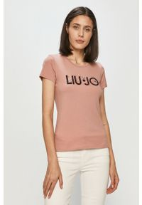 Różowa bluzka Liu Jo casualowa, na co dzień, z aplikacjami
