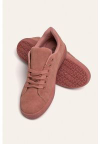 Różowe buty sportowe ANSWEAR z okrągłym noskiem, z cholewką, na sznurówki