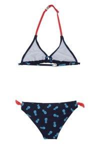 Bikini dziewczęce (2 części) bonprix ciemnoniebieski. Kolor: niebieski. Wzór: nadruk