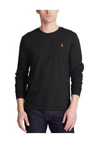 Ralph Lauren - RALPH LAUREN - Koszulka z długim rękawem. Typ kołnierza: polo. Kolor: czarny. Materiał: bawełna, jeans. Długość rękawa: długi rękaw. Długość: długie. Wzór: haft. Styl: klasyczny