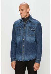 Niebieska koszula Cross Jeans długa, na co dzień, z długim rękawem