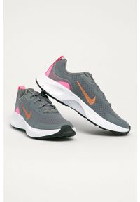 Szare buty sportowe Nike Kids z cholewką, na sznurówki, z okrągłym noskiem