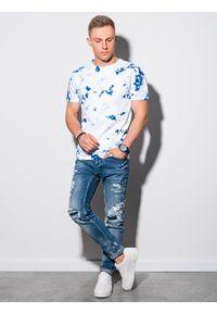 Ombre Clothing - T-shirt męski bawełniany S1373 - niebieski/biały - XXL. Kolor: niebieski. Materiał: bawełna. Długość: krótkie. Sezon: lato
