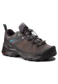 Szare buty trekkingowe salomon z cholewką