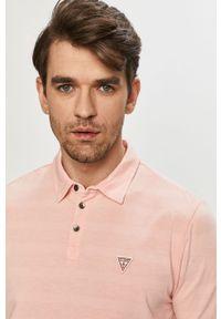 Różowa koszulka polo Guess gładkie, polo, na co dzień, casualowa