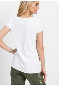 Shirt bonprix biały z nadrukiem. Kolor: biały. Wzór: nadruk